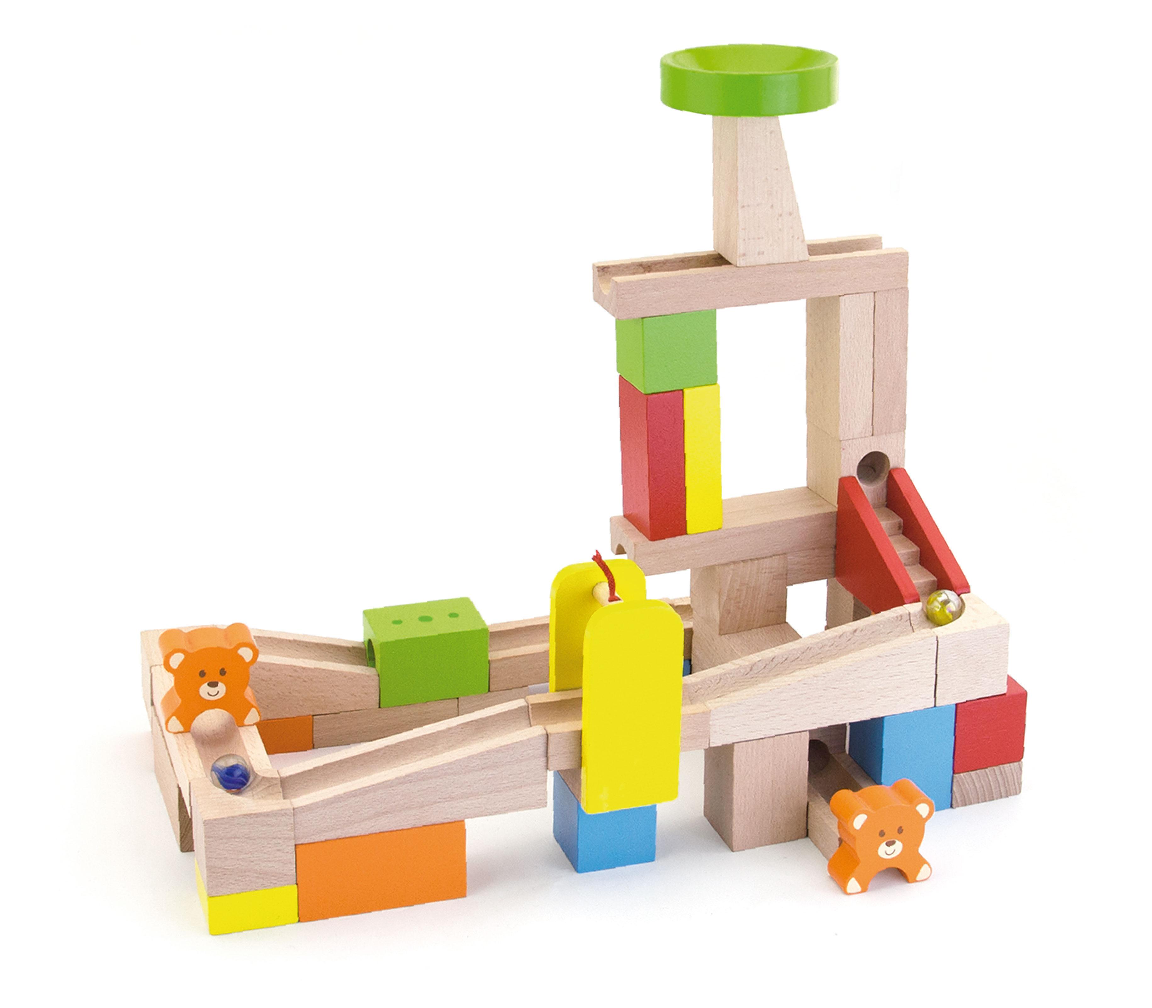 Дървена писта и конструктор с топчета от Viga toys - дървена играчка(1)-bellamiestore