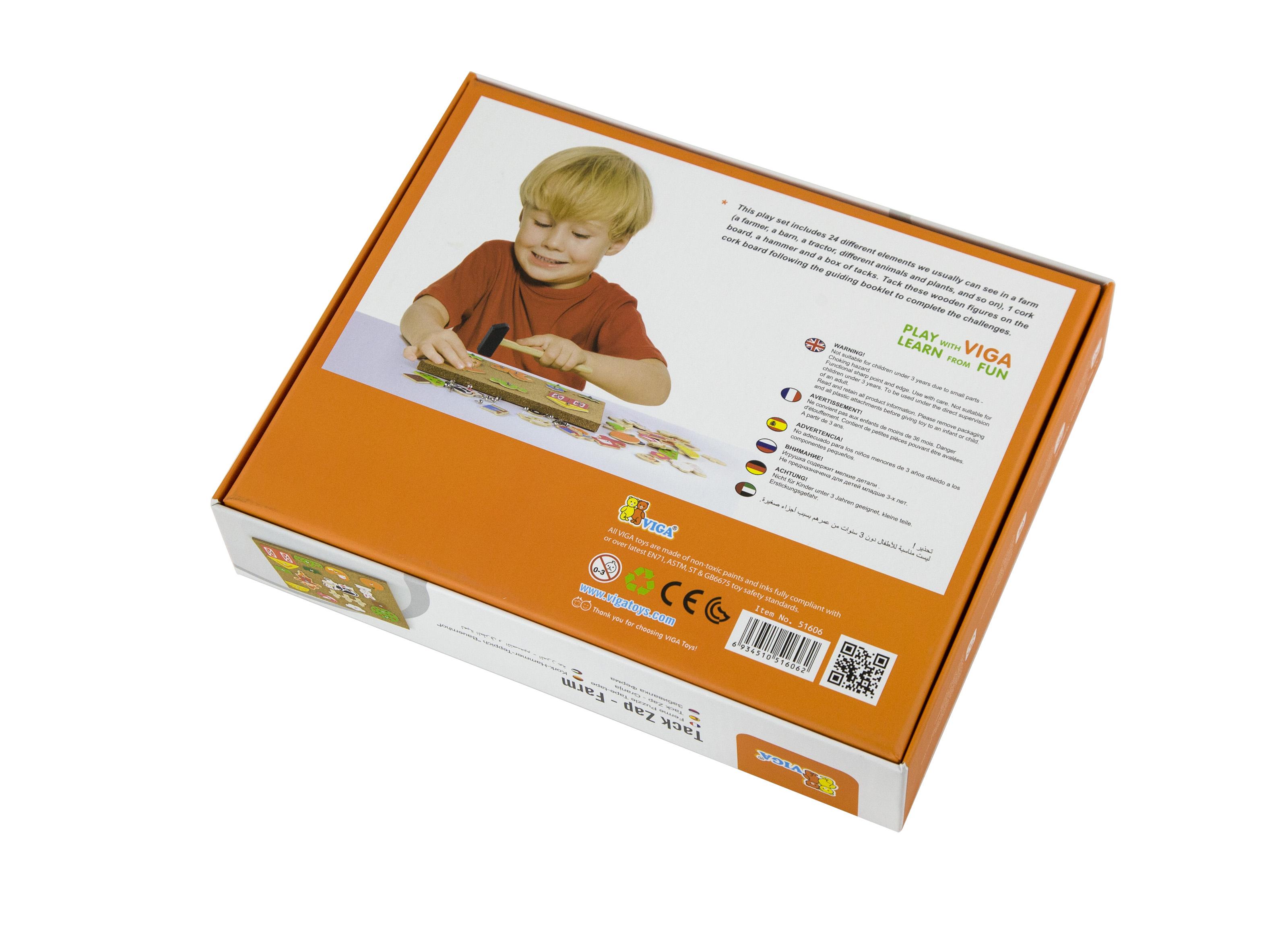 Образователна игра за сръчност - Ферма- дървена играчка от Viga toys(2)-bellamiestore