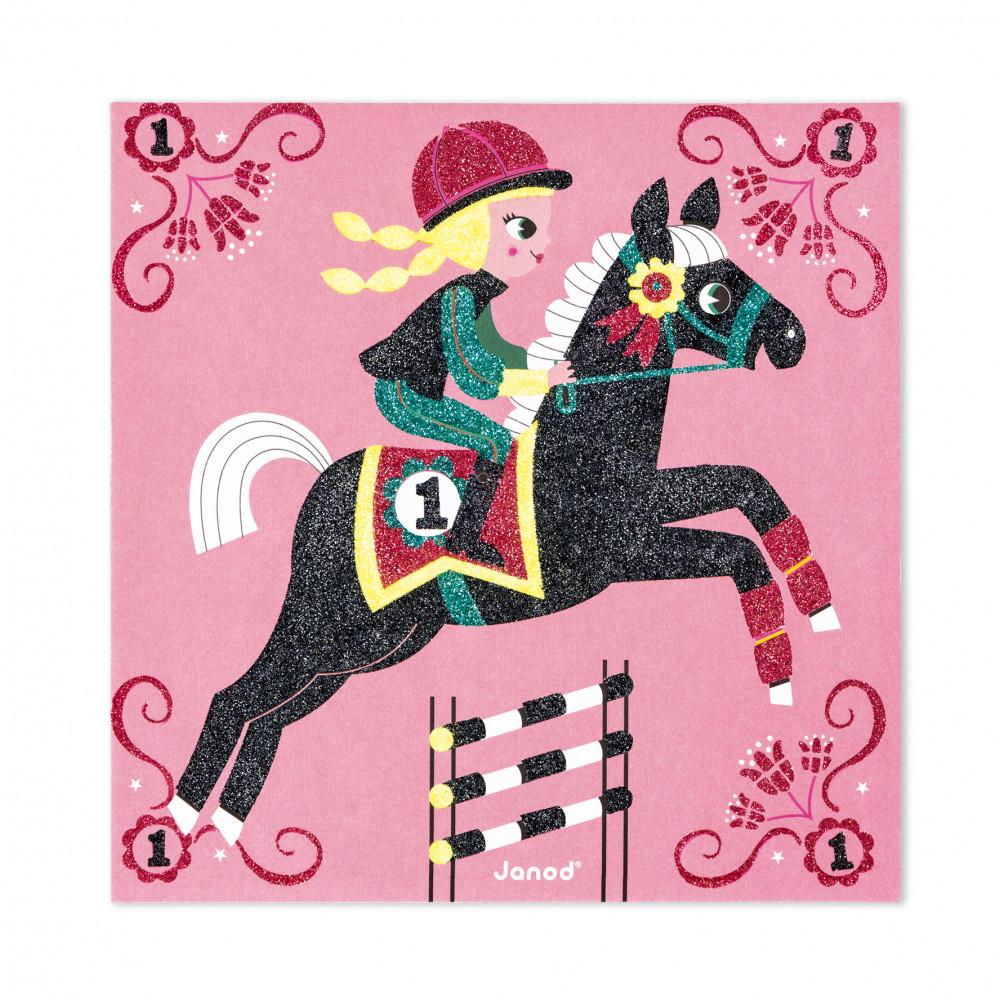 Света на конете - карти с брокат - творчески комплекти от Janod-bellamiestore
