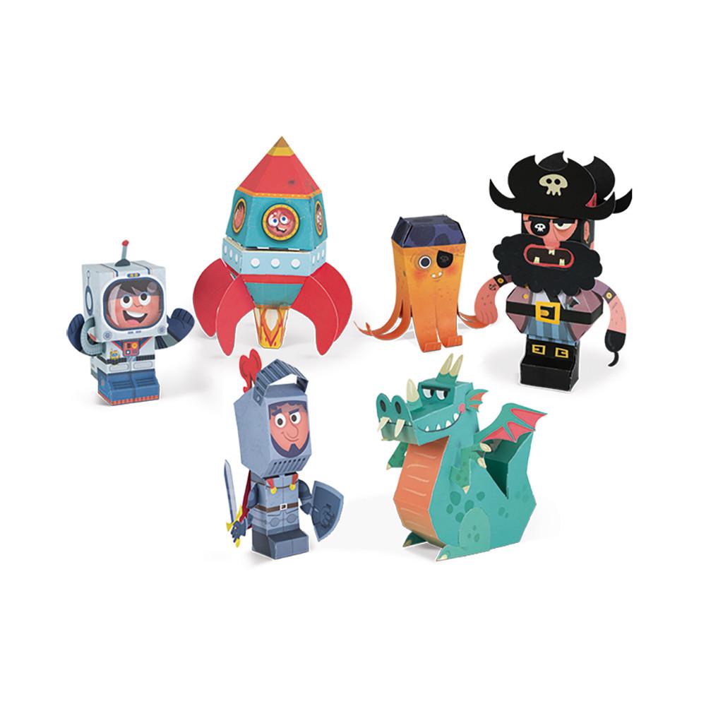 Творчески комплект - Направи си герои от хартия - детски играчки за момчета от Janod(5)-bellamiestore