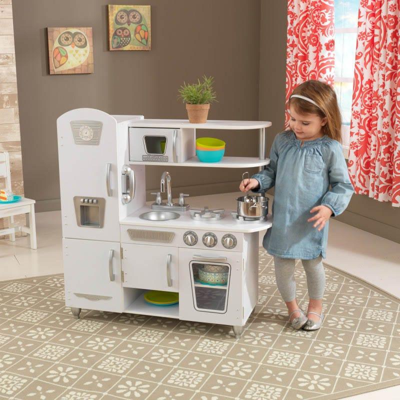 Детска дървена кухня винтидж в бяло- детска играчка от KidKraft(1)-bellamiestore