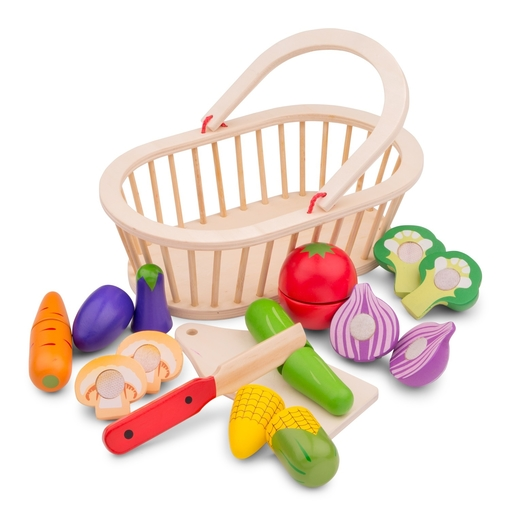кошница с зеленчуци за рязане- дървена играчка от New classic toys-bellamiestore