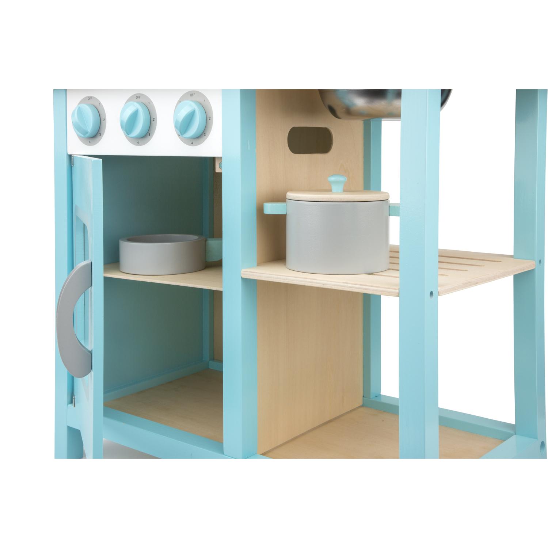 Детска дървена кухня Бон Апети синя от New classic toys с аксесоари към нея-bellamiestore