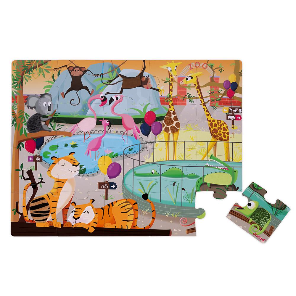 Детски пъзел осезание - Дивите животни от 20 части - детски играчки от Janod-bellamiestore
