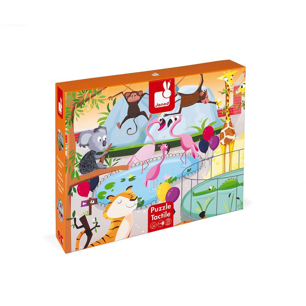 Детски пъзел осезание - Дивите животни от 20 части - детски играчки от Janod(5)-bellamiestore