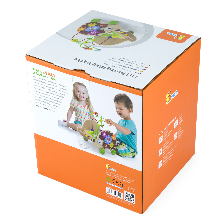 Дървена играчка с активности за дърпане - Таралеж от Viga toys-bellamiestore