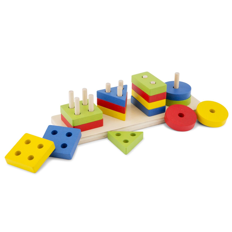 Дървени геометрични фигури за сортиране и нареждане от New classic toys-bellamiestore