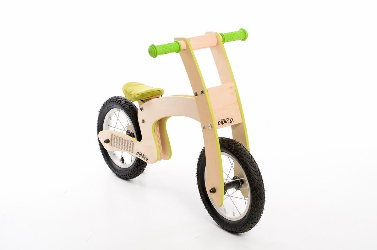 """Pipelo - Дървено колело за баланс - Модел """"Z"""" в зелено (1) - Белами"""
