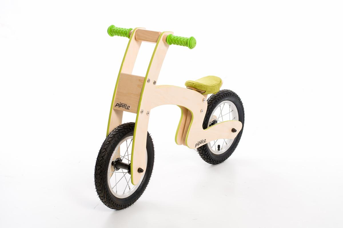 """Pipelo - Дървено колело за баланс - Модел """"Z"""" в зелено (4) - Bellammiestore"""