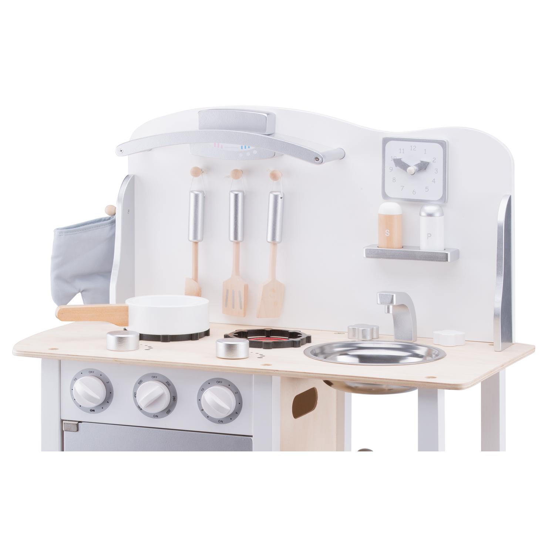 Детска дървена кухня за игра Бон апети в бяло-сиво от New classic toys-bellamiestore