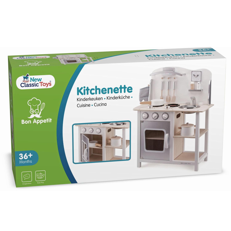 Детска дървена кухня за игра Бон апети в бяло-сиво от New classic toys