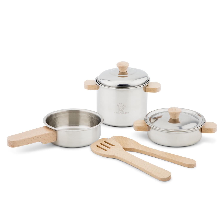 Детски готжарски комплект за готвене от метал и дърво от New classic toys-bellamie