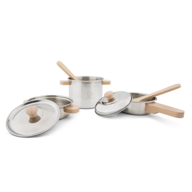 Детски готжарски комплект за готвене от метал и дърво от New classic toys-bellamiestore