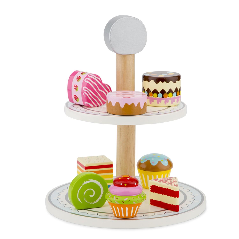 Дървен поднос с кексчета и сладкиши от New classic toys-bellamiestore