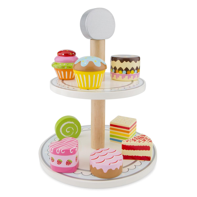 Дървен поднос с кексчета и сладкиши от New classic toys-bellamie