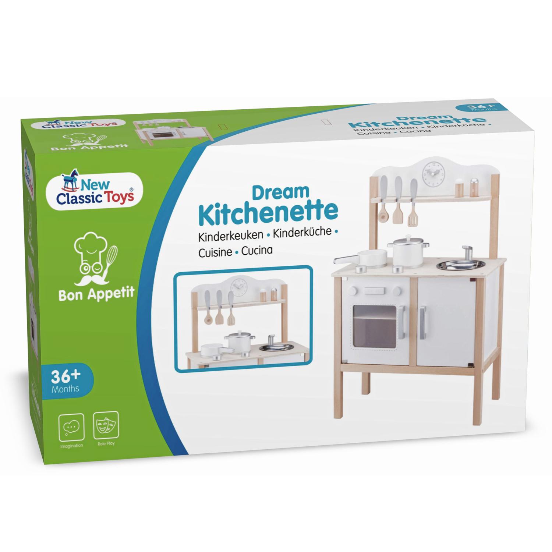 Дървена детска кухня за игра Класик бяла от New classic toys-bellamiestore
