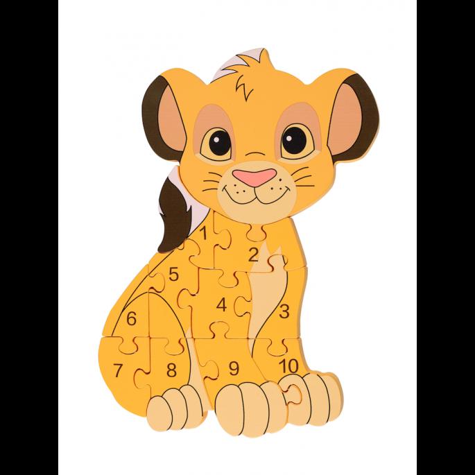 Детски пъзел с числа лъвчето Симба - Disney от Orange tree toys-bellamiestore