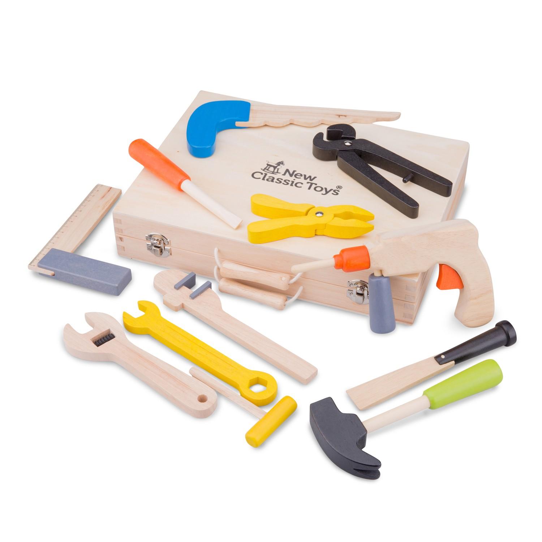 Куфар с детски инструменти - малък майстор 12 броя от New classic toys-bellamiestore
