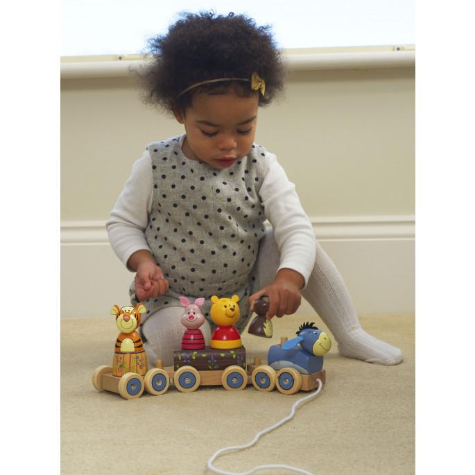 Мечо Пух -детско дървено влакче за дърпане Disney - Orange tree toys-bellamiestore