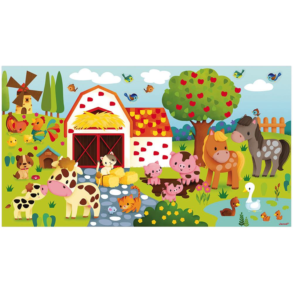 Творчески комплект -постер със стикери 390 броя -Ферма от Janod-bellamiestore