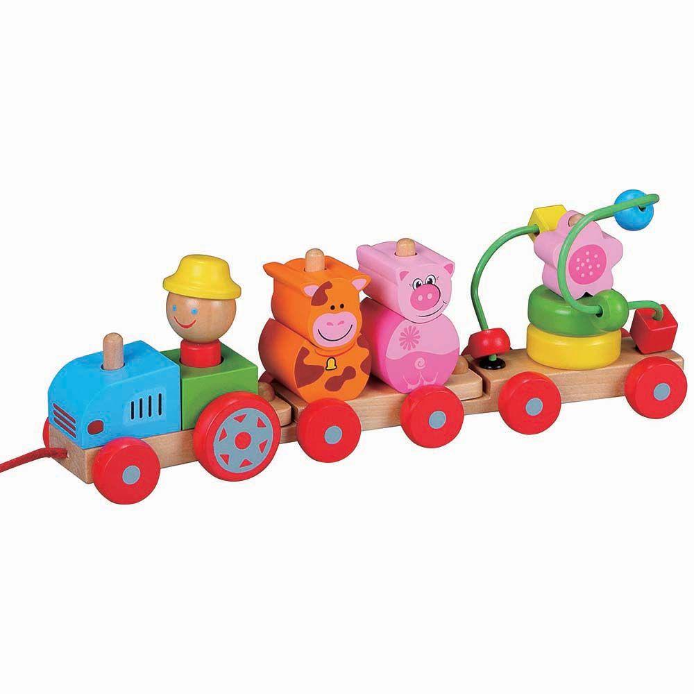 Дървен цветен трактор с лабиринт от Lelin toys-bellamiestore
