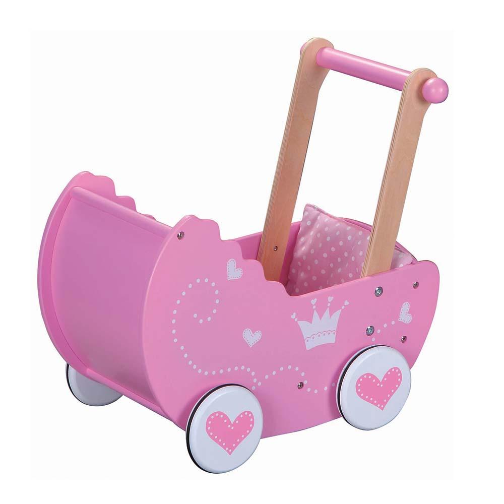 Дървена розова количка за кукли от Lelin toys-bellamiestore