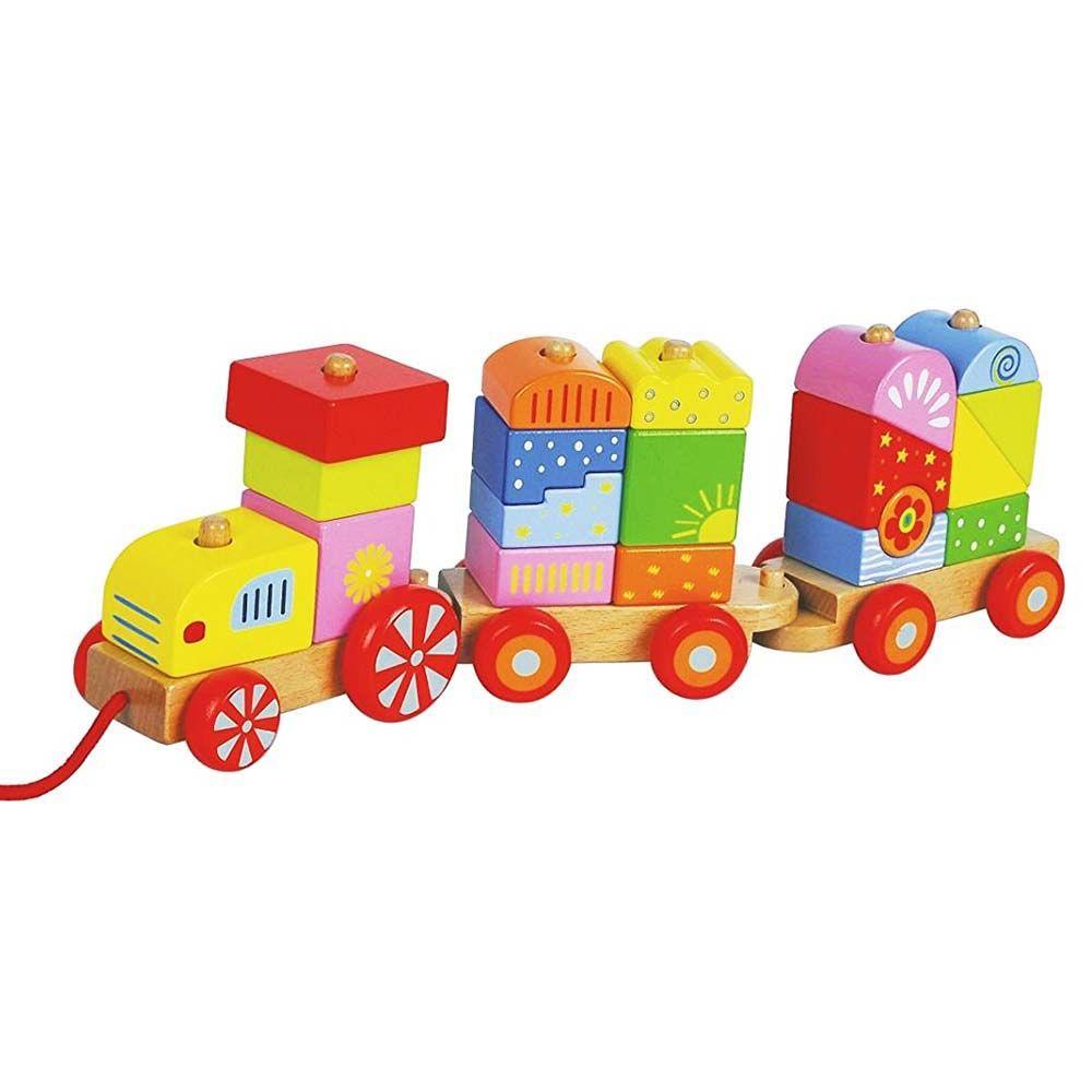 Дървено цветно влакче конструктор от Lelin toys-bellamiestore