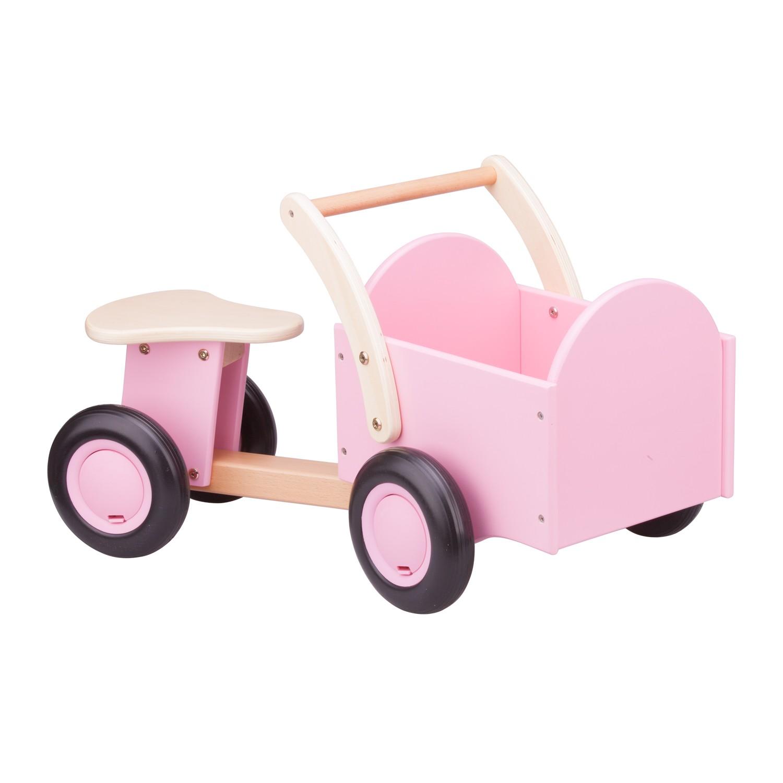 Дървено колело за бутане с кош в розово от New classic toys-bellamiestore