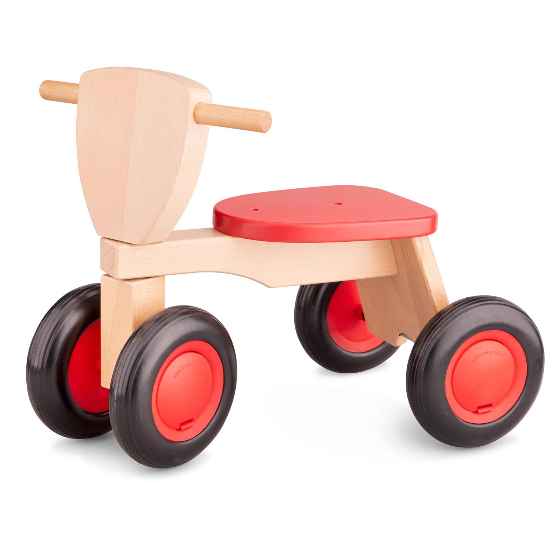 Детско колело за баланс от дърво в червено - New classic toys-bellamiestore