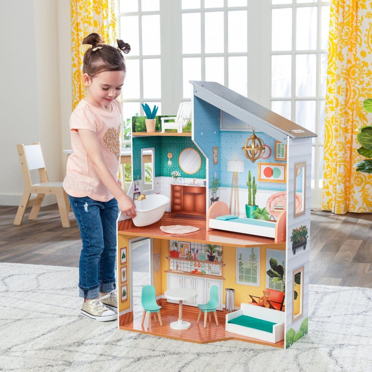 Дървена къща за кукли Емили от Kidkraft-bellamiestore