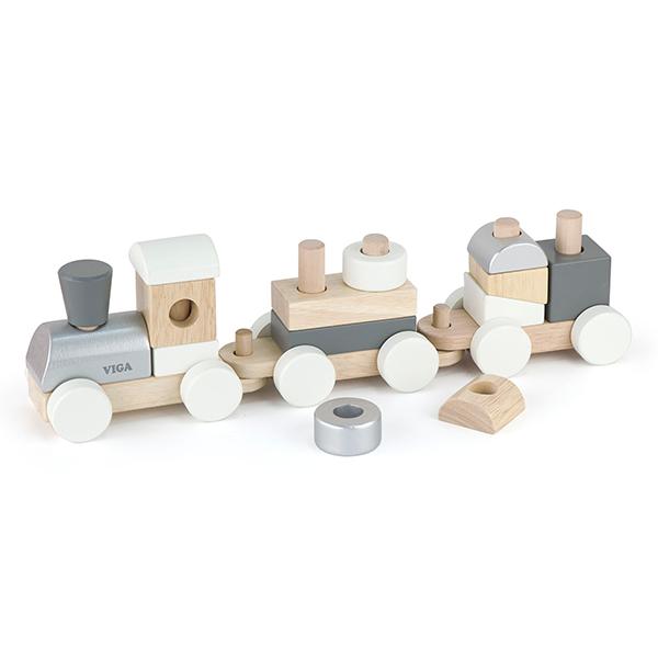 Детско дървено влакче и конструктор за дърпане от Viga toys-bellamiestore
