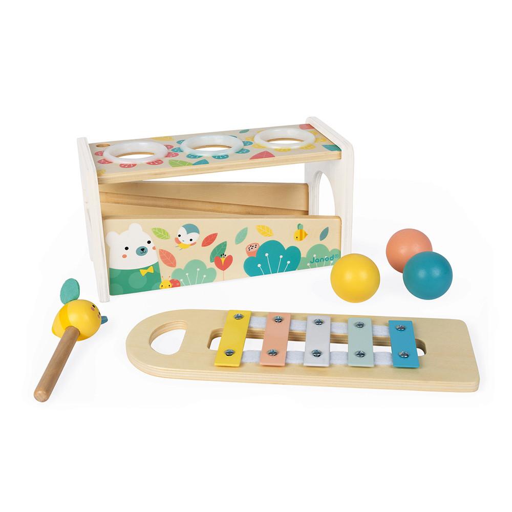 Janod детски ксилофон с топки бебешка играчка - bellamiestore