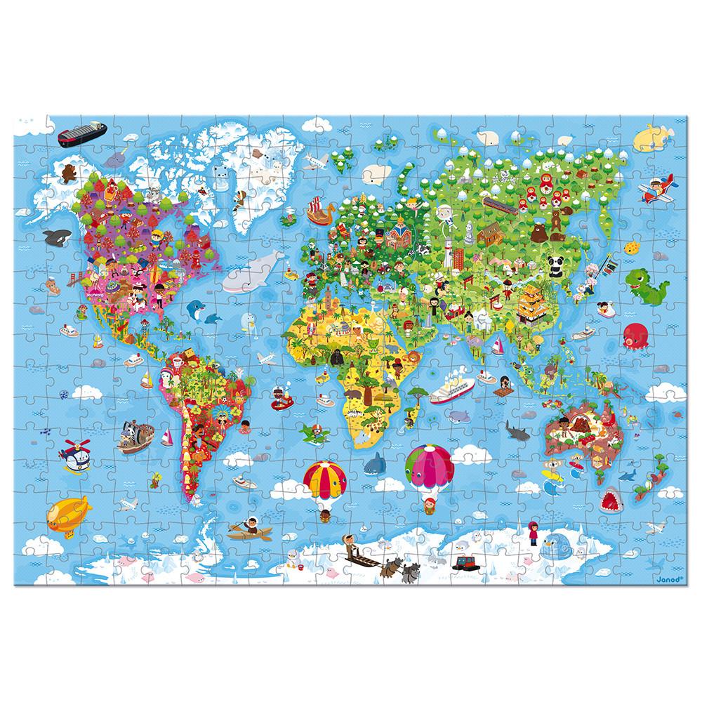 Janod Карта на света - гигантски детски пъзел от 300 части-bellamiestore
