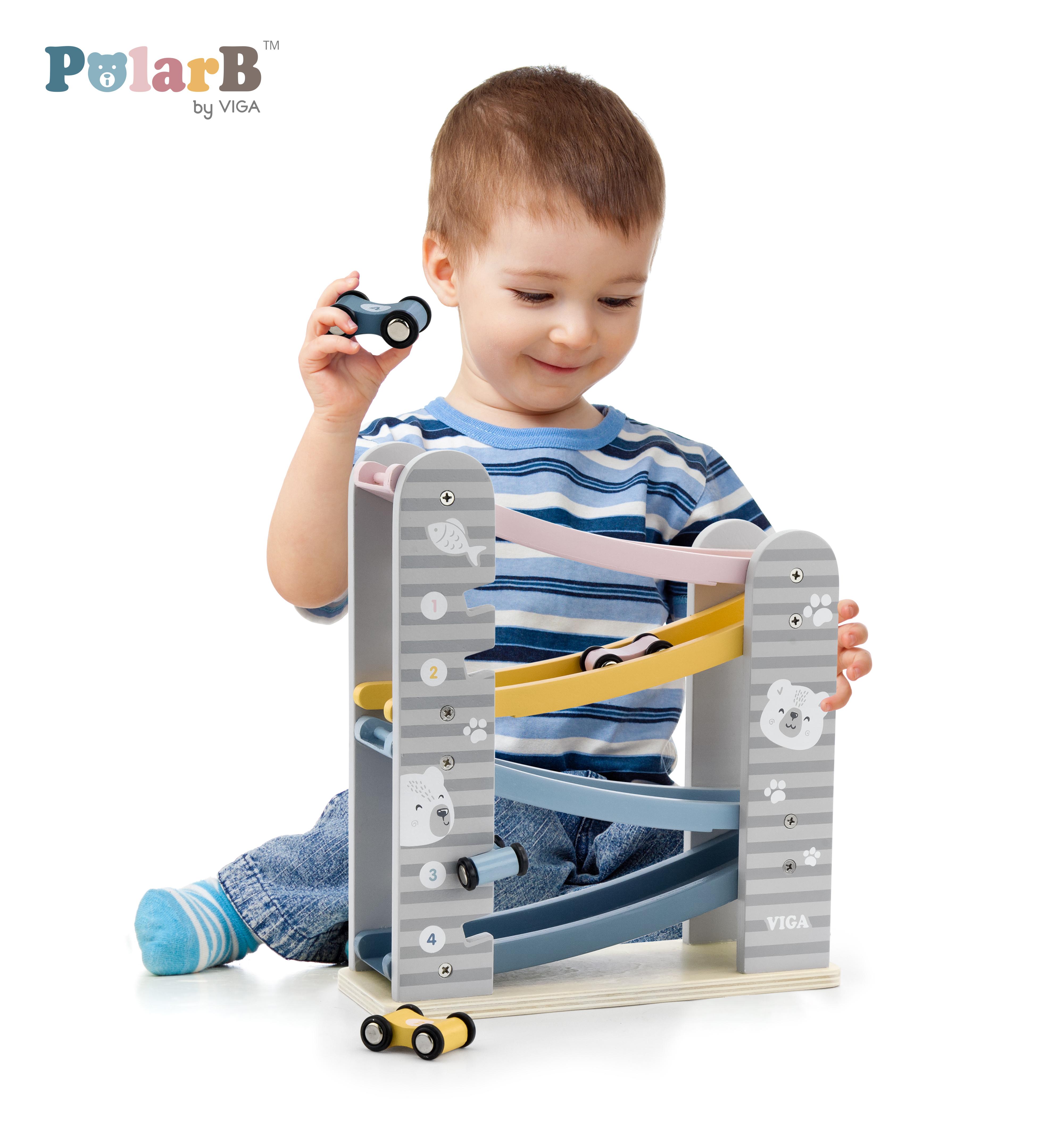 Дървена писта с колички PolarB от Viga toys-bellamiestore