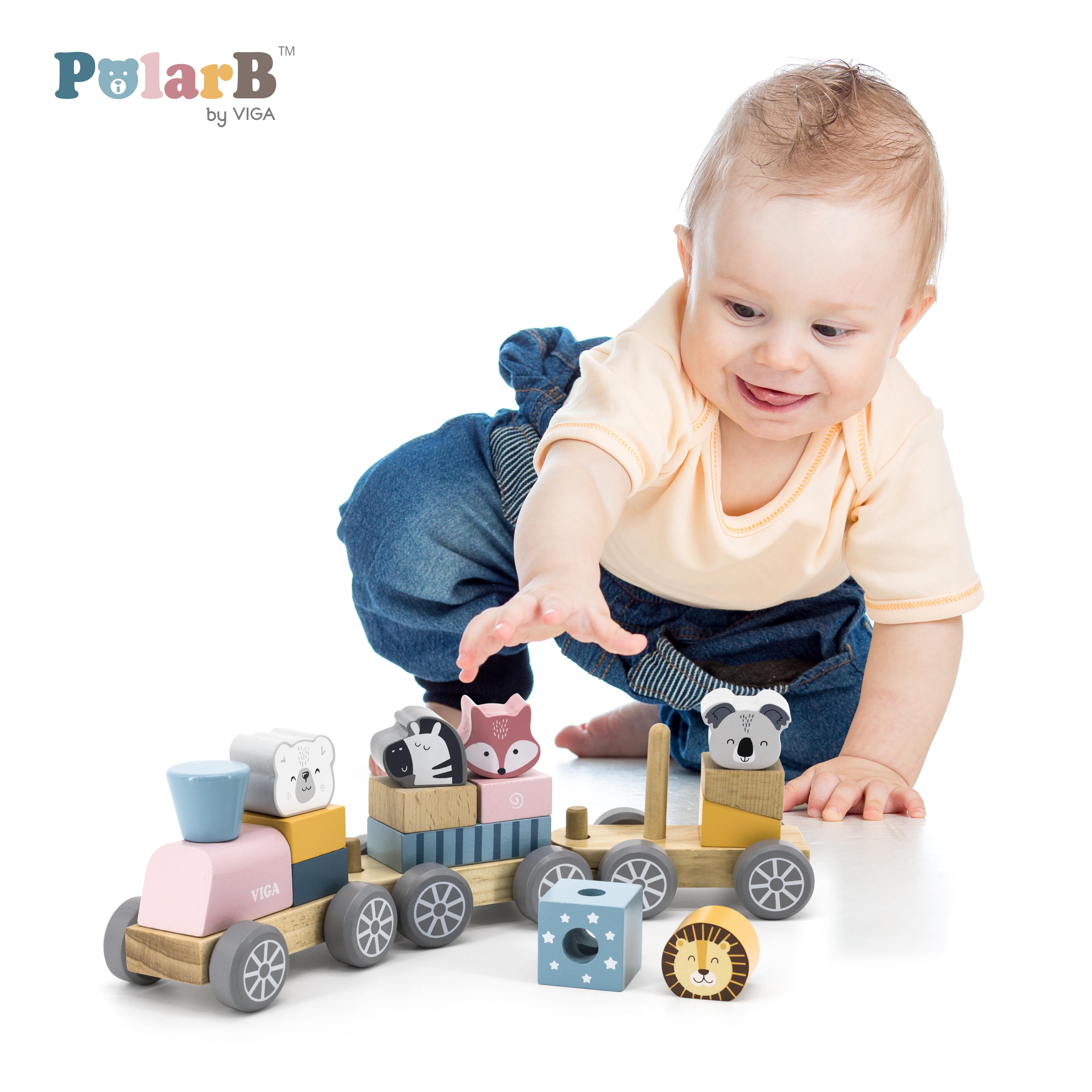 Дървено влакче и конструктор с животни PolarB от Viga toys-bellamiestore