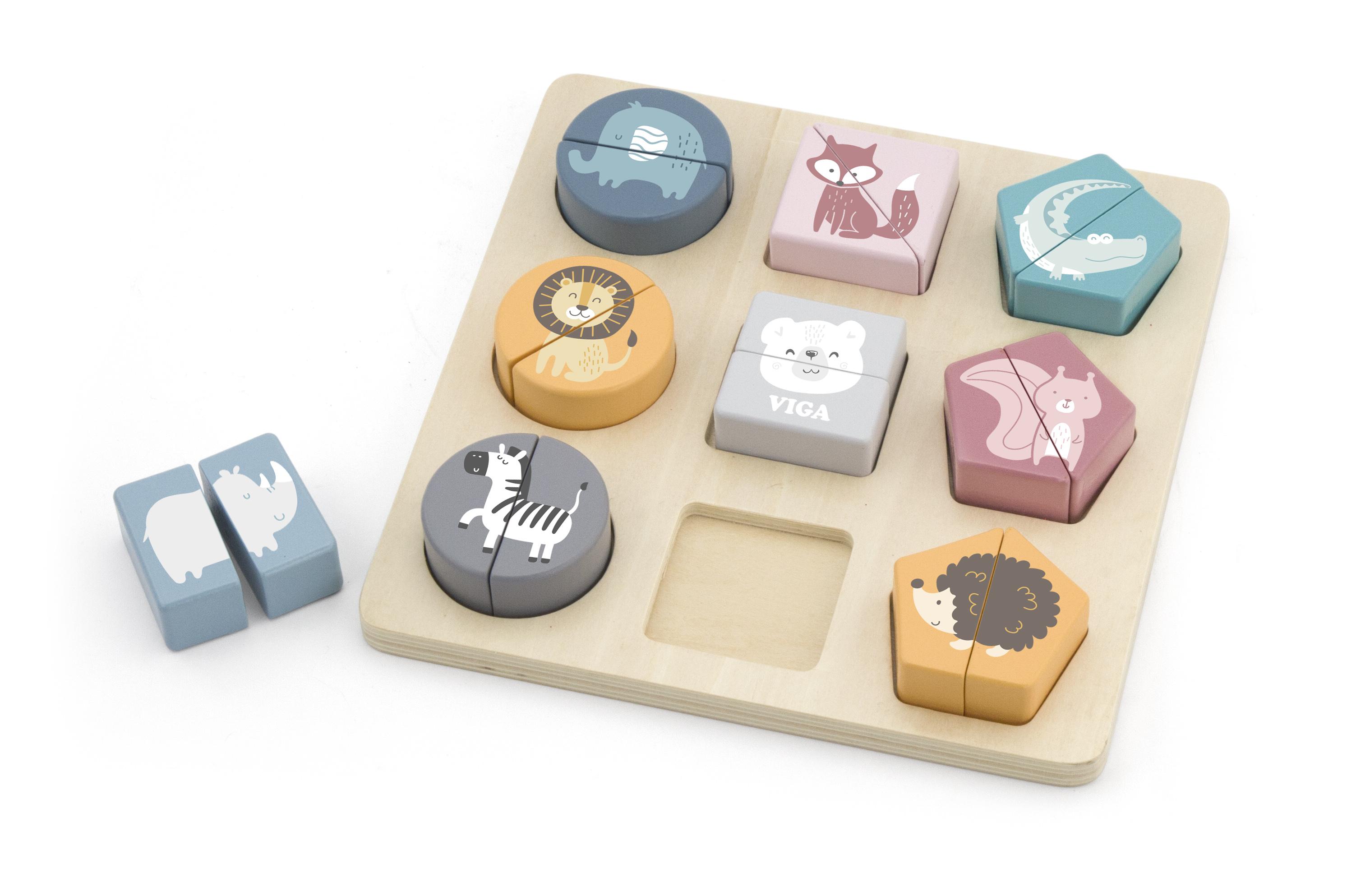 Геометричен пъзел с животни PolarB от Viga toys-bellamiestore