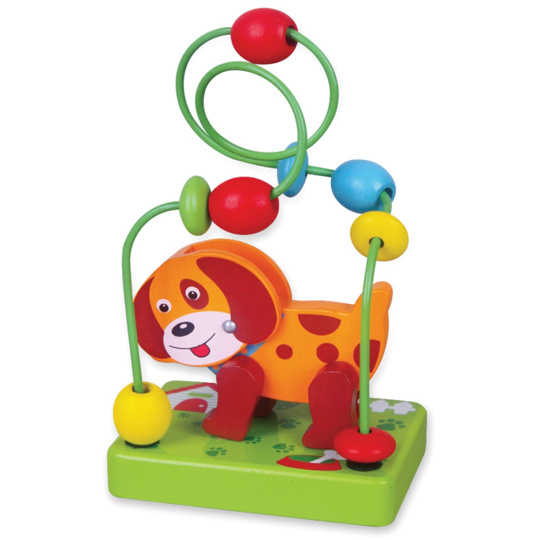 Viga toys дървена играчка куче със спирала и мъниста-bellamiestore