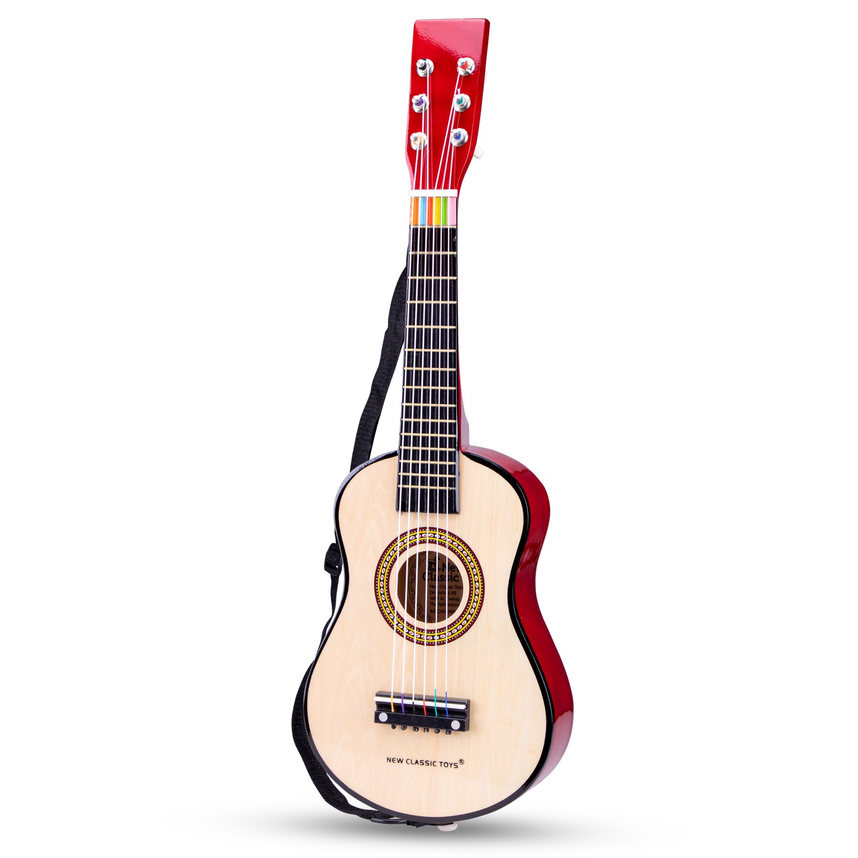 Класическа детска китара от дърво в бордо от New classic toys-bellamiestore