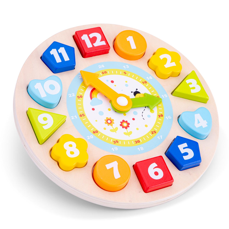 Дървен часовник сортер - Цветове и форми от New classic toys-bellamiestore