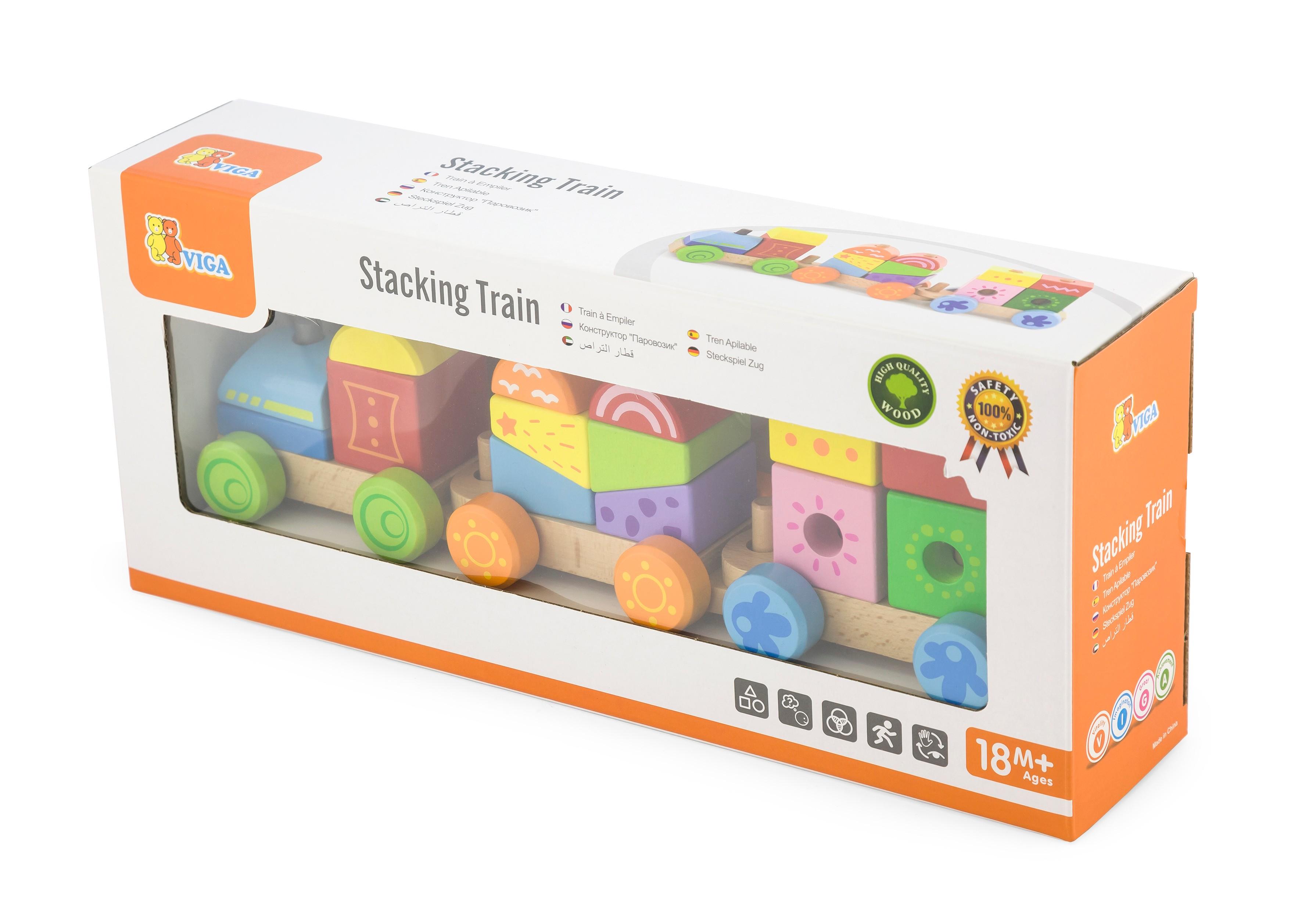 Дървено детско влакче и конструктор от Viga toys - bellamiestore