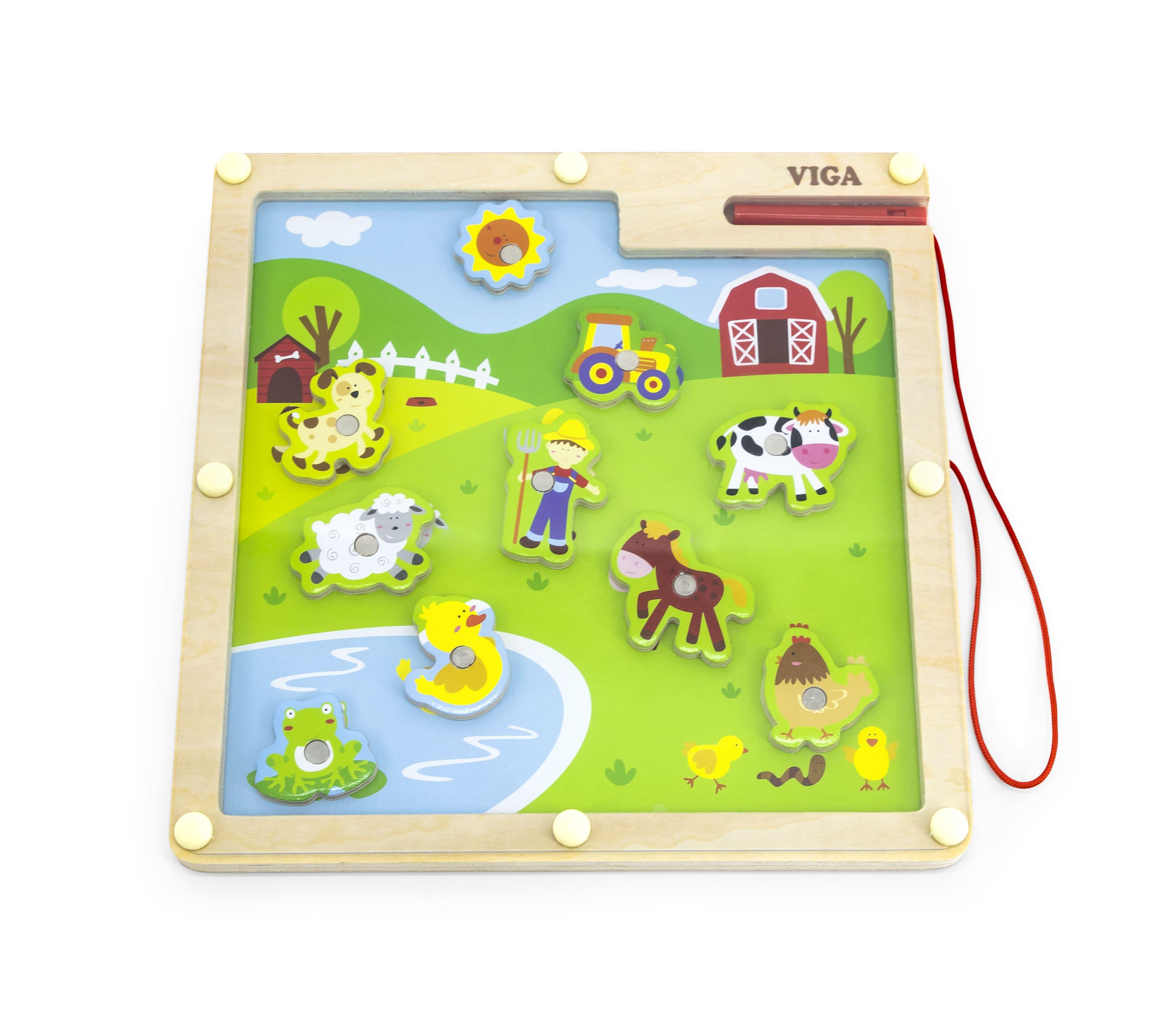 Магнитна образователна игра с животни от фермата Viga toys-bellamiestore