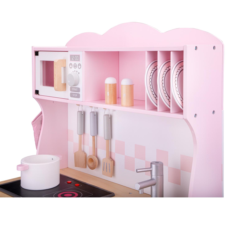 Модерна детска дървена кухня в розово от New classic toys-bellamiestore