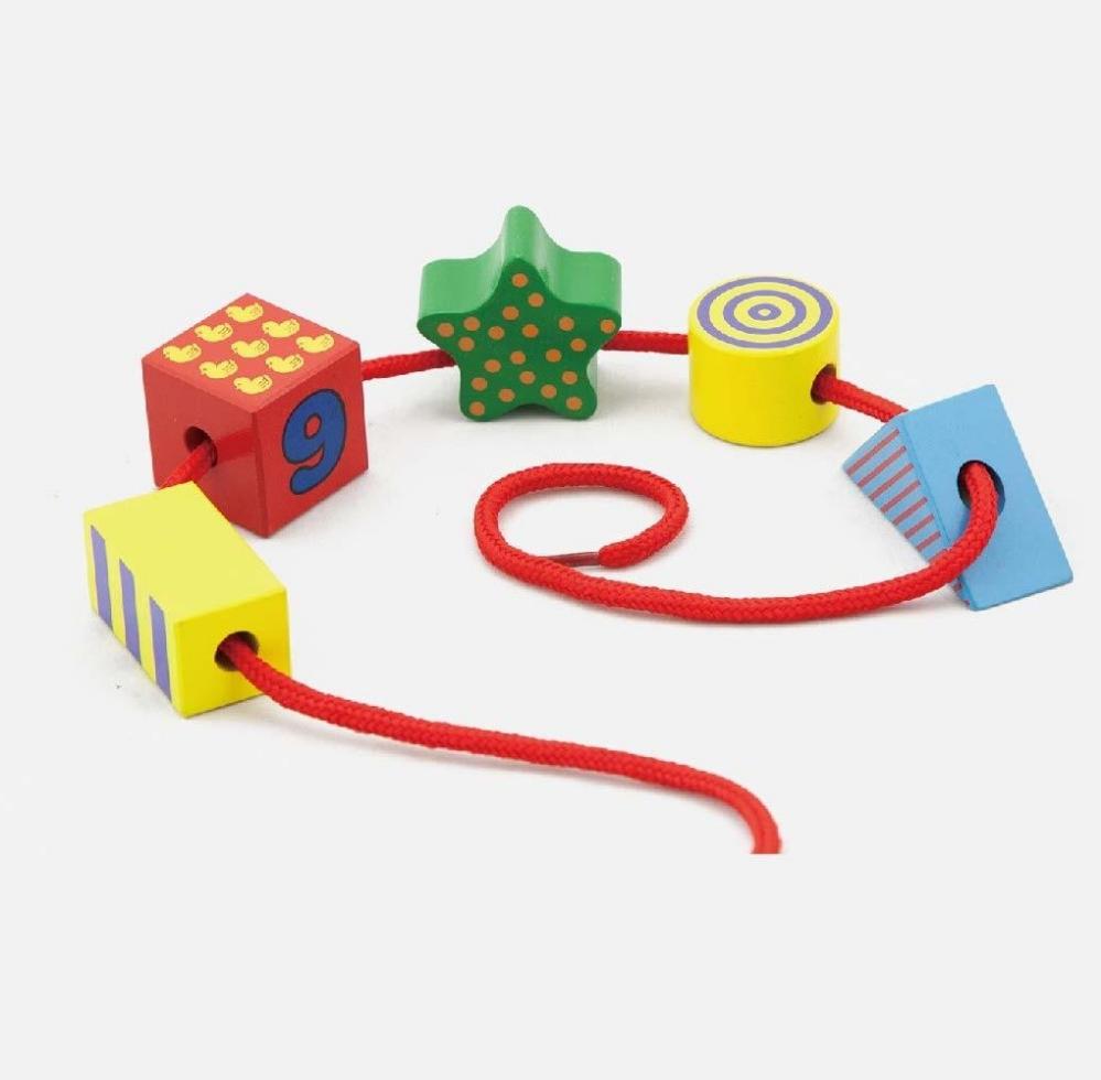 Дървена играчка за нанизване Цветни форми от Viga toys-bellamiestore