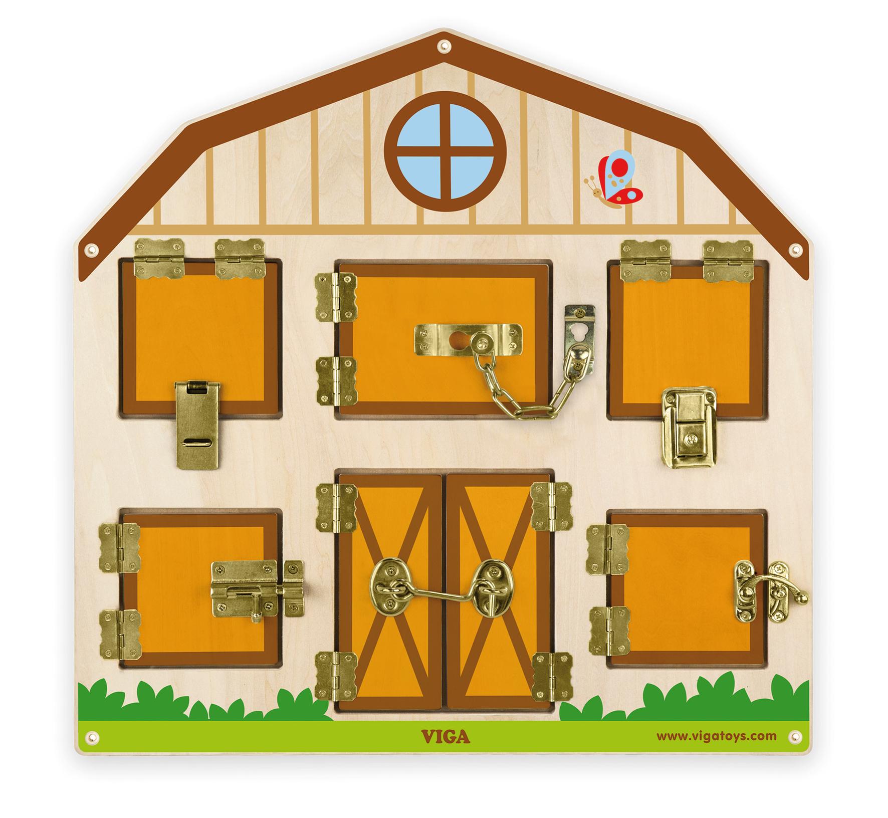 Дървена играчка за стена с ключалки от Viga toys-bellamiestore