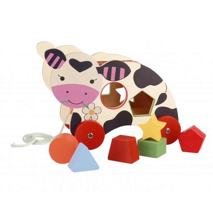 Дървена играчка за сортиране на колелца Крава-bellamiestore