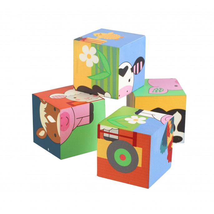 Дървени кубчета и детски пъзел с животни 4 бр.-bellamiestore