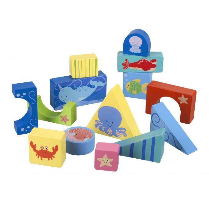 Детски пъзел от дървени блокчета Морски свят-bellamiestore