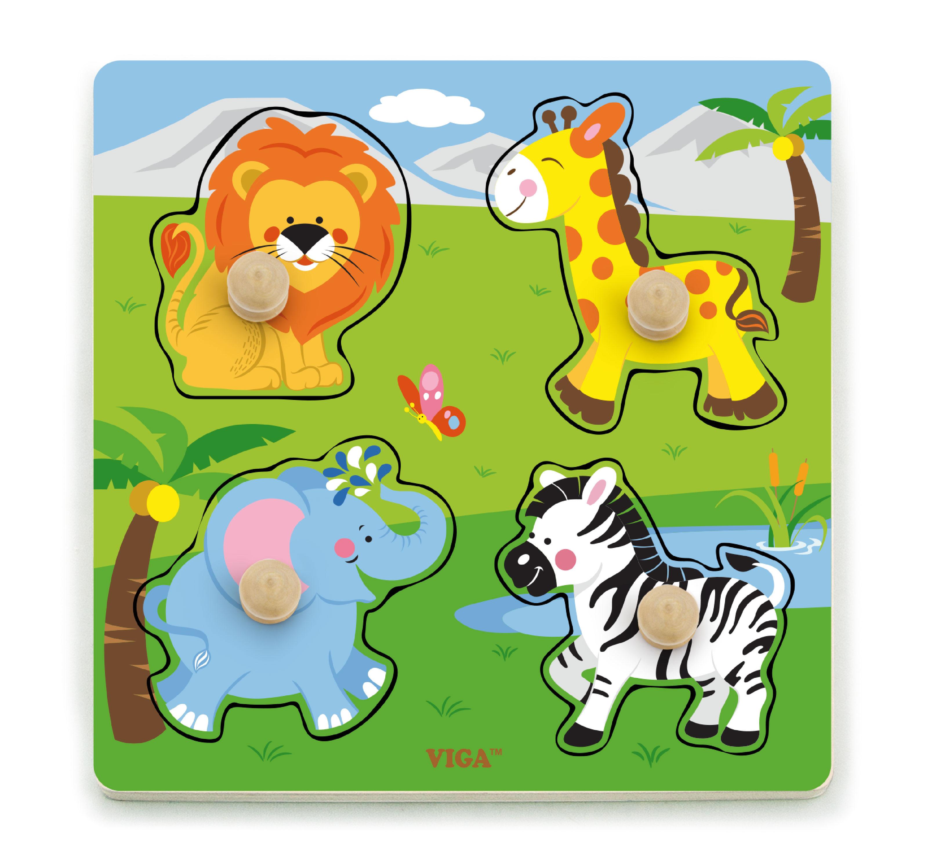 Детски плосък пъзел с дивите животни от Viga toys-bellamiestore