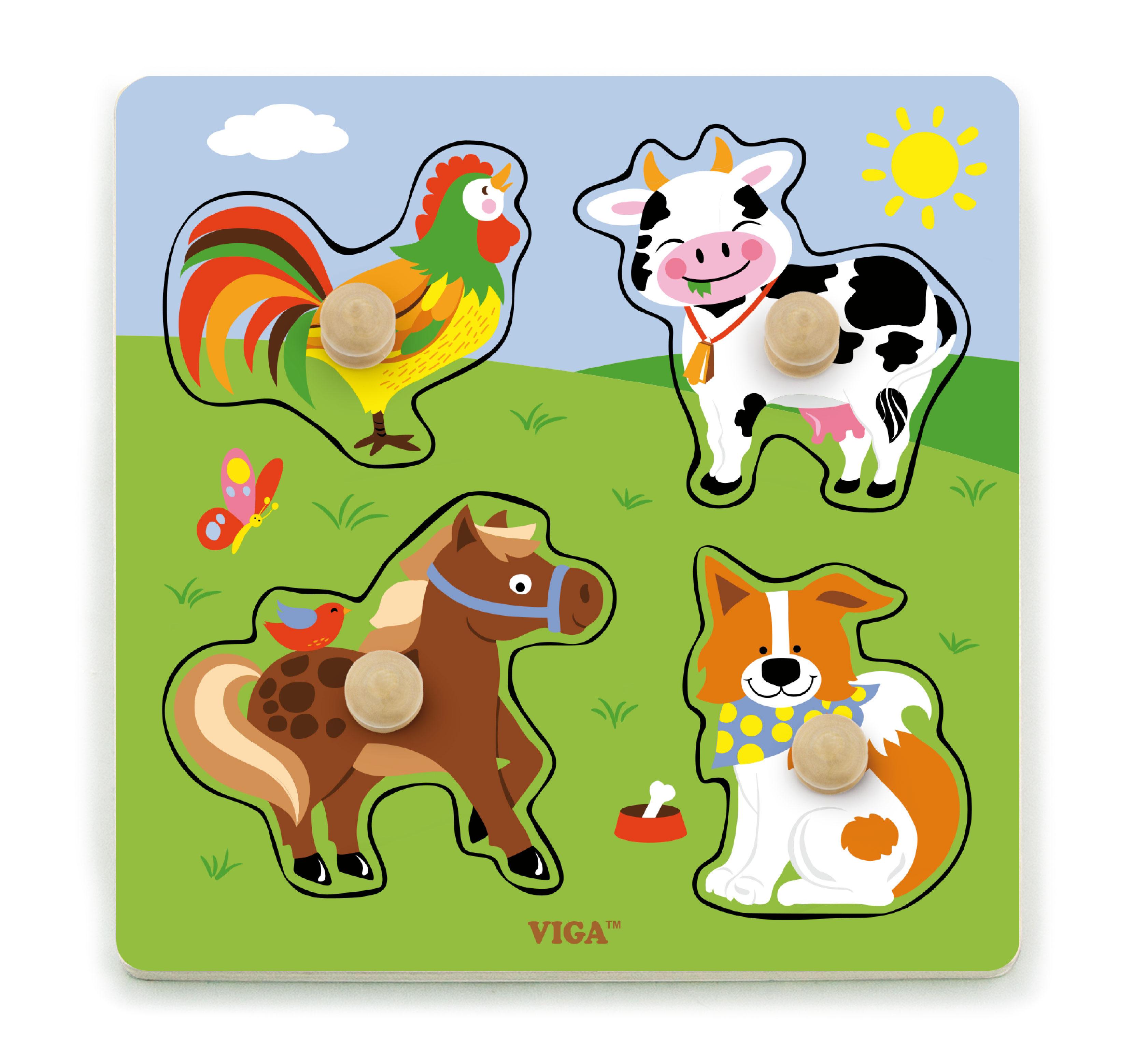 Детски плосък пъзел с домашни животни-bellamiestore