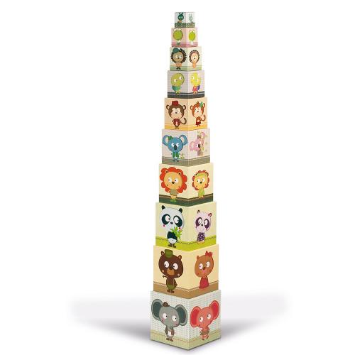 Janod Пирамида от детски кубчета Семейни портрети-bellamiestore